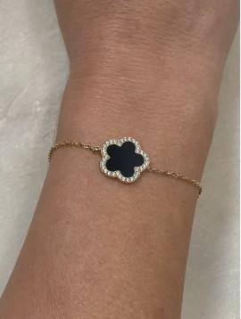 Bracelet Acier - Pendentif trèfle en pierre et strass