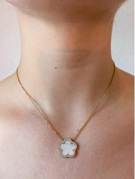 Collier Acier - Pendentif trèfle en pierre et strass sur chaine acier