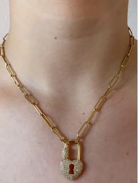 Collier Acier - Pendantif cadena coeur en strass sur chaine forçat
