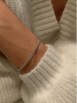 Bracelet Acier - Jonc ouvert perles acier