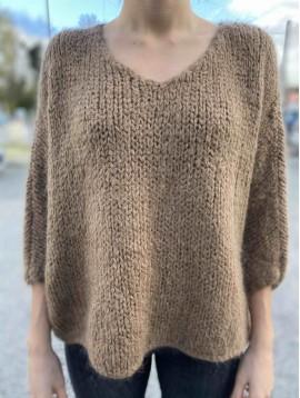 Pull Manches Chauve Souris tricot épais Mohair/Laine/Acrylique