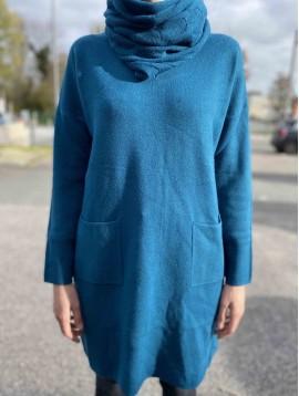 Tunique/Robe 2 poches et snood jacquard