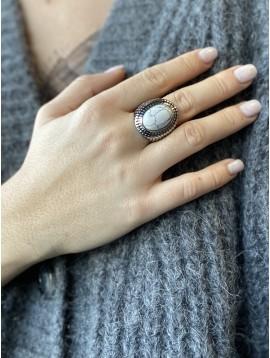 Bague Acier - Grosse pierre sur anneau vieilli pois