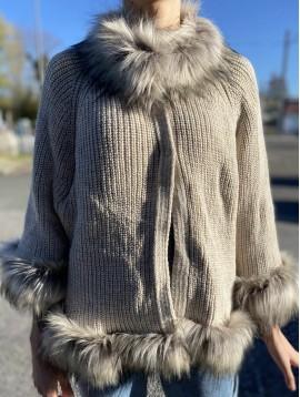 Veste Tricot avec fausse fourrure et laine