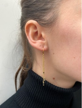 BO Dormeuses - Anneaux dorés avec chaines et pierres pendantes