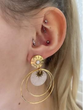 BO percées Acier - Pastilles rondes avec anneaux et pierres pendantes