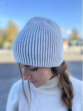 Bonnet tricot bandes rayures et lurex