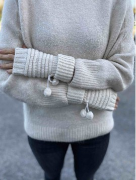 Mitaines tricot avec 2 pompons