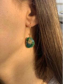 BO créoles - Pendentif pierres à facettes et pastilles soleil sur tige