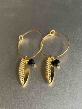 BO créoles - Plumes travaillées et perles pendantes sur anneaux fins