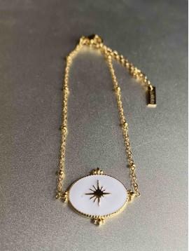 Bracelet Acier - Pastille ovale ornée centre étoile sur chaine