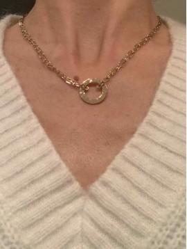 Collier Acier -  Pendentif anneau martelé sur deux rangs forçats
