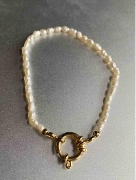 Bracelet Acier - Rang pierres naturelles ovales et fermoire doré