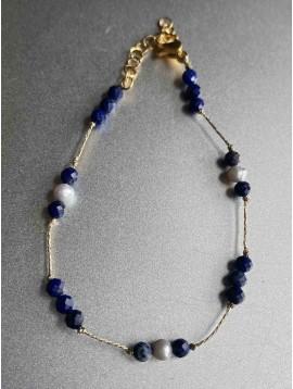Bracelet Acier - Pierres naturelles sur chaine acier