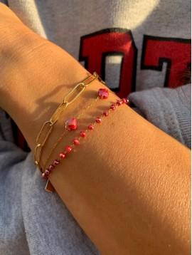 Bracelet Acier - Trois rangs maille forçat pierres à facettes, trèfles