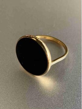 Bague Acier - Large ovale résine sur anneau fin