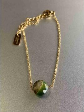 Bracelet Acier - Pierre naturelle sur chaine fine