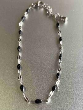 Collier Acier - Mini perles sur chaine maille ovale brillante