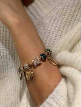 Bracelet - Jonc torsadé avec pampilles et pendentifs strass
