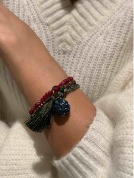 Bracelet - Trois rangs perles scintillante, pompon et boule brillante
