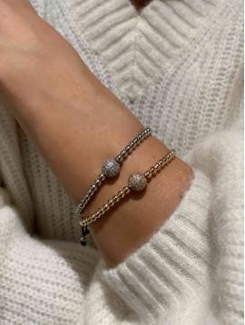 Bracelet - Boule strass avec perles sur lien coulissant