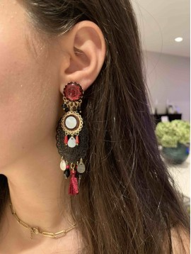 BO clips - Pastilles mandalas et pompons et perles pendantes
