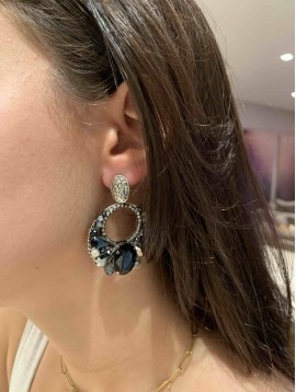 BO clips - Pastilles et anneaux pendants strass et pierres à facettes