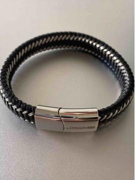 Bracelet Acier - Tressage cuir épais avec incrustations acier