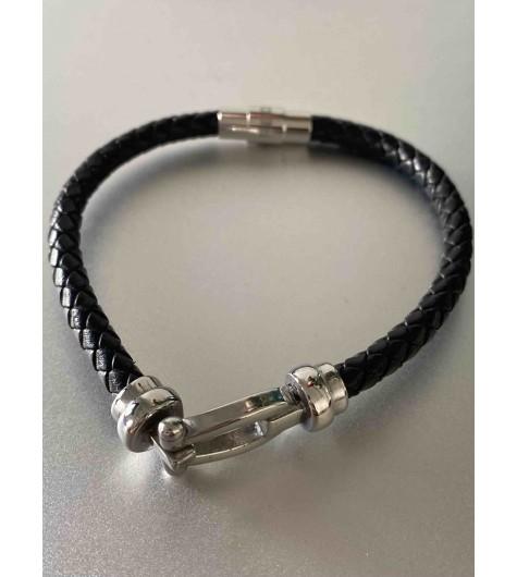 Bracelet Acier - Lien cuir tréssé avec fer à cheval en acier