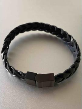 Bracelet Acier - Tressage épais en cuir avec fermoir acier
