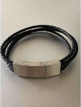 Bracelet Acier - Détails rectangle et perles acier sur multi-rang cuir