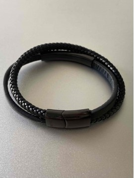 Bracelet Acier - Rectangle acier sur multi-rangs cuir lisse et tréssé