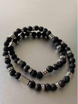 Bracelet Acier - Double tour perles épaisses et détails acier