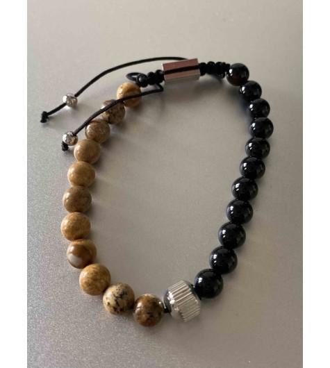 Bracelet Acier - Perles épaisses naturelles avec pastille acier