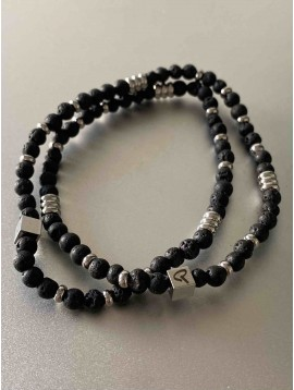 Bracelet Acier - Double tour avec perle effet pierre et détails acier