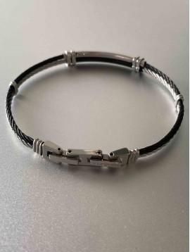 Bracelet Acier - Demi-arcs sur multi-cables torsadés acier et noir