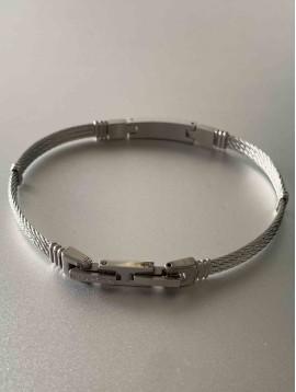 Bracelet Acier - Maillon rectangle sur multi-cables torsadés acier