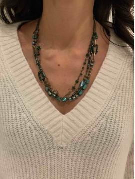 Collier - Trois rangs perles scintillantes, pastilles et anneaux