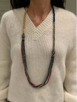 Collier - Long avec perles scintillantes et cinq rangs pendants