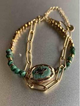 Bracelet Acier - Coquillage peirre incrustée sur chaine et perles