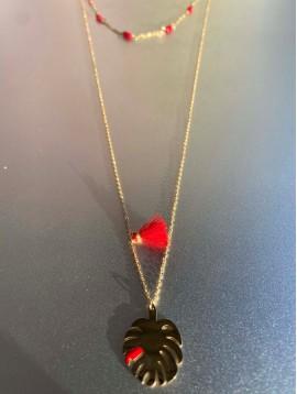 Collier Acier - 2 rangs avec perles colorées, pompon et feuille