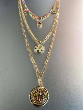 Collier Acier - 4 Rangs différentes chaines avec pendentifs strass