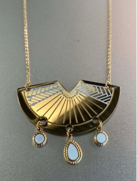 Collier Acier - Demi cercle gravé avec pampilles pendantes sur chaine