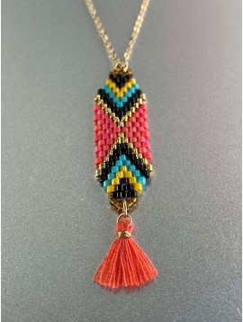 Collier Acier - Tressages en perles colorées sur chaine fine
