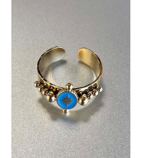 Bague Acier réglable - Ovale centre étoile et perles dorées sur jonc