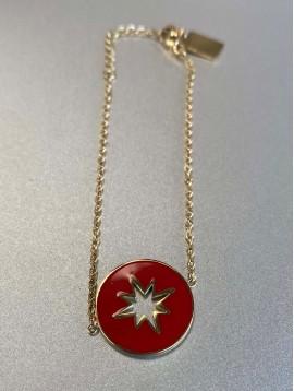 Bracelet Acier - Pastille colorée perforée étoile sur chaine fine