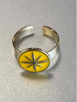 Bague Acier réglable - Pastille colorée centre étoile