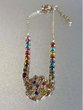 Bracelet Acier - Coquillage avec strass et chaine strass