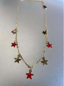 Collier Acier - Avec étoile en émail et métal