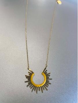 Collier Acier - Demi cercle soleil coloré sur chaine fine